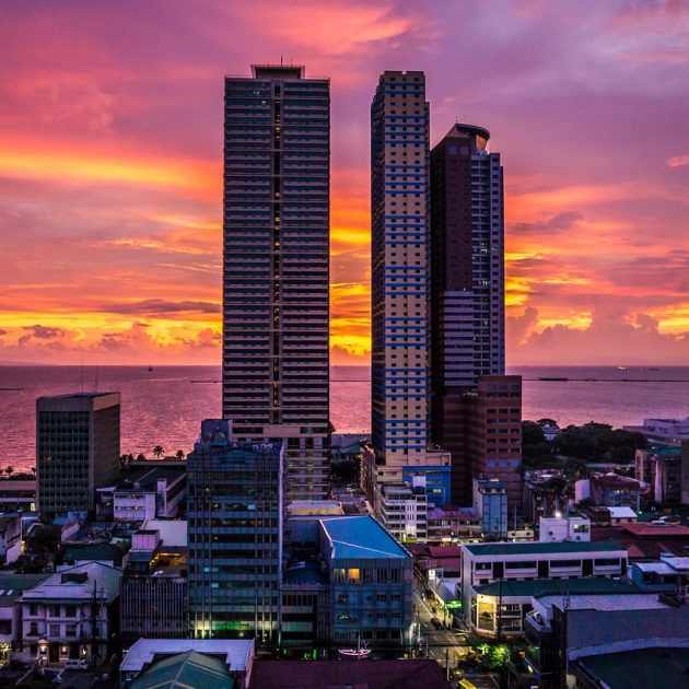 Skyscrapers of Manila under a sunset