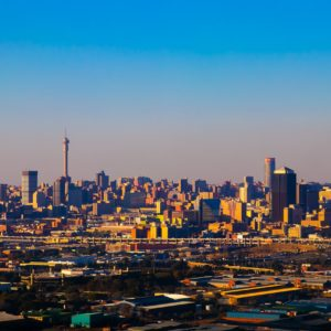 Johannesburg city under a sunset
