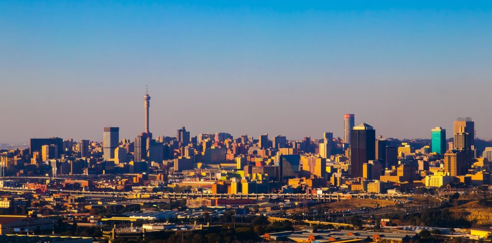 Johannesburg city under a sunset